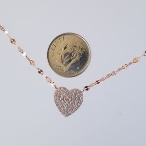 Pave Heart Shape Necklace Rose Gold  Tone